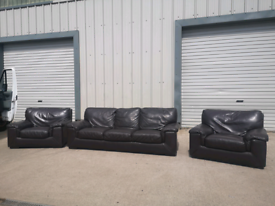 Real brown leather 3+1+1 sofas couches suite 🚚🚚
