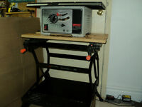 "Shopcraft 10"" table saw with Black & Decker Workmate 400 bench"
