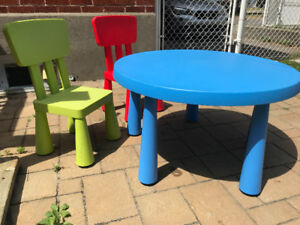 Table + 2 chaises enfants / Two children's chair + Childre Table