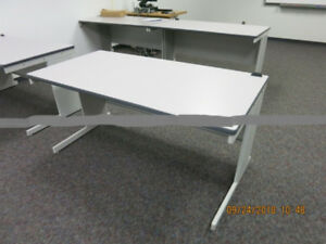 Package of 5  Matching Grey Open Concept Desks - Good Condition