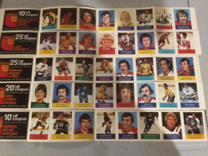 5 complete panels of 1974-75 Loblaws NHL Action Stamps