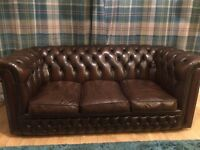 Chesterfield 3 seater sofa and wing back chair