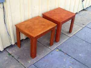 pair good oak end tables- refinished