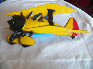 AMAZING RUSTIC 3D YELLOW AIRPLANE WALL PLAQUE