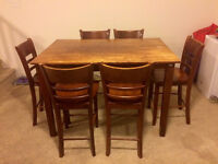 Solid Wood Table & 6 chairs (Bar Height)