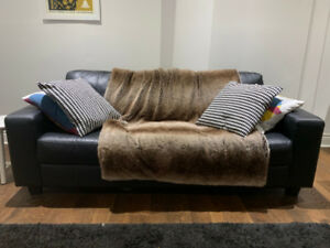 IKEA 3 Seater Leather Couch Black