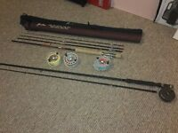 2 fly fishing rods and reels
