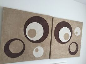 Wall Art with Circles Brown & Beige x 2