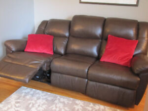 Leather Power Reclining 3-Seater Couch