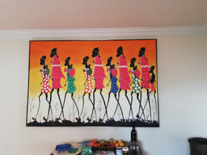 African painting with frame