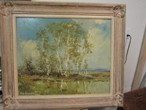 antiquité 1940 peinture à l'huile signée / cadre de bois sculpté