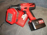 MILWAUKEE CORDLESS 14.4 VOLT DRILL PLUS 2 BATTERIES $60.