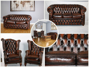 NEW Antique 100% Leather Chesterfield Sofa Set | Free Delivery