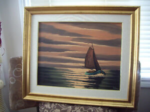 Like New Gold Colour Frame Sailboat Wall Art Ready To Hang