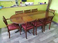 Extendable Dining Table With Set Of 8 Chairs - Can Deliver For £19