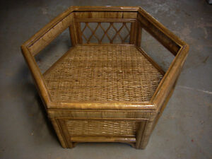 TWO RATTAN COFFEE TABLES