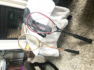 Squash racquets in case with travel bag