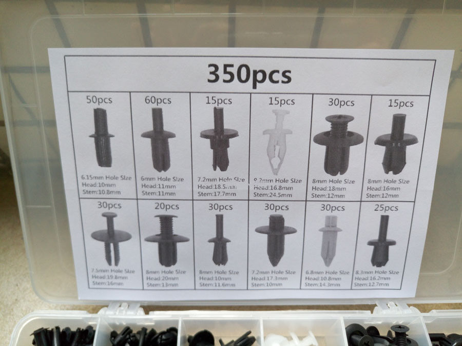 350 Pcs Car Body Push Pin Rivet Fasteners Trim Moulding Clip Set Screwdriver