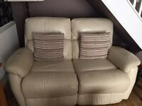 Cream leather 2 seater manual recliner settee