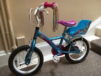 """Apollo PomPom Girls 14"""" Bike with toy seat and stabilisers - excellent condition"""