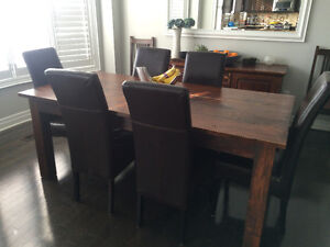 Rustic solid wood dining table set