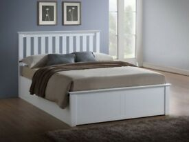 FREE DELIVERY !! Brand New White & Oak Finish Wooden Ottoman Storage Bed in Double and King Size
