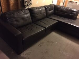 Faux Leather Chaise Sectional Couch $100
