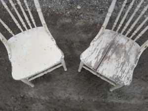 Pair of old farm house dining chairs