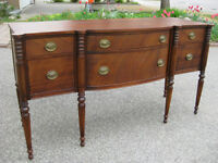 Stunning Antique Mahogany Sideboard, Duncan Phyfe Dining Table +