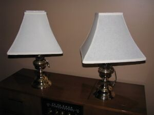 Table lamps including shades (Gold colour finish) $50 for the pa