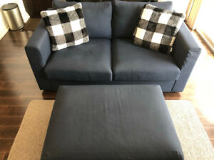 Loveseat couch and ottoman