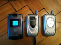 2cell phones with chargers and accessories