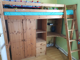 Solid wood bunk bed with desk and wardrobe