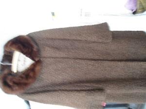 FUR COAT(Persian, Curly Lamb, MINK collar, Chocolate BROWN
