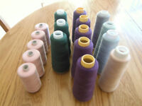 SEWING serger thread - 16 spools of serger thread - most full
