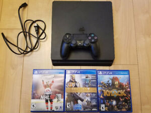 PS4 Slim 500GB with controller, 3 games, hookups
