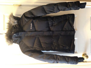 Black down filled Columbia winter jacket