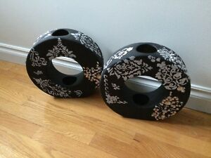 2-black,white jewled vases $30 for both Cambridge Kitchener Area image 1