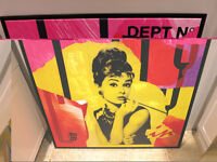 Audrey Hepburn Andy Warhol Style Print Canvas with Frame