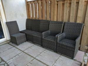6 Outdoor Faux Wicker Chairs with Cushions