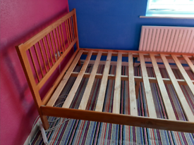 Pine double bed frame with under bed drawer