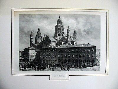 Mainz mit Mainzer Dom - Seltener alter Stahlstich 1840