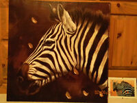 Zebra on canvas and 3 small prints