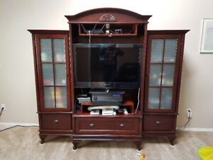 Dark Wood and Glass Entertainment and Display Cabinet