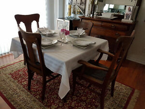 DINING TABLE, CHAIRS,LEAF AND DRESSER-ANTIQUE TIGER OAK