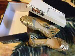 New in box Chelsea Crew gold wedge sandal
