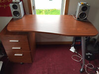 Desk with Drawers and Filing Cabinet For Sale