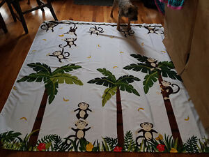Monkey shower curtain and clips
