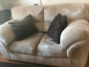 Beige Micro Suede Couch for Sale. Gently used.