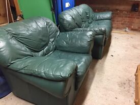 3 seater leather settee & armchair
